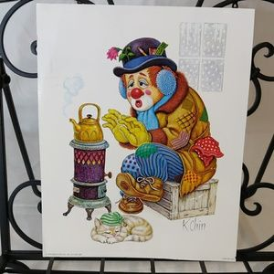 1974 Hobo Clown Print by K. Chin